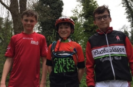 The Under 14 Podium at the MTB League L_R Robert Malone (2nd) Eoin Carthy (1st) Ronan McDonnell (3rd)